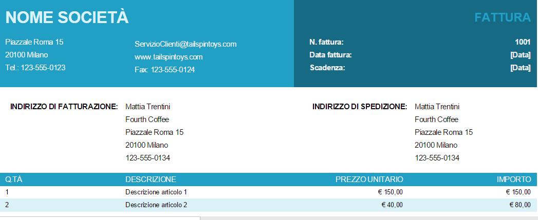 Fattura Base con prezzo unitario su Excel Online