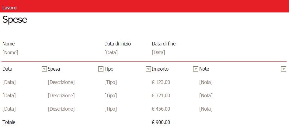 Registro Spese su Excel Online