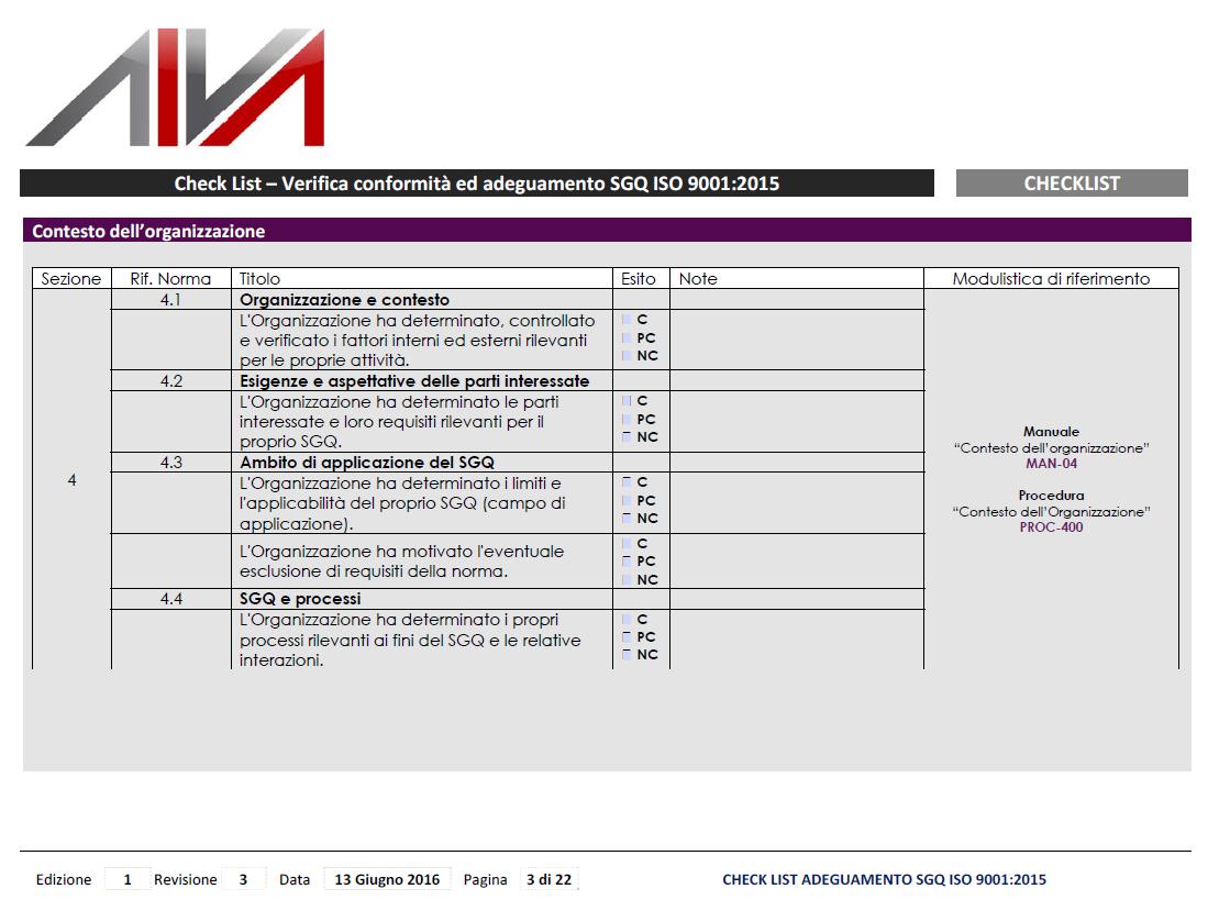 CheckList ISO9001 2015 in Italiano