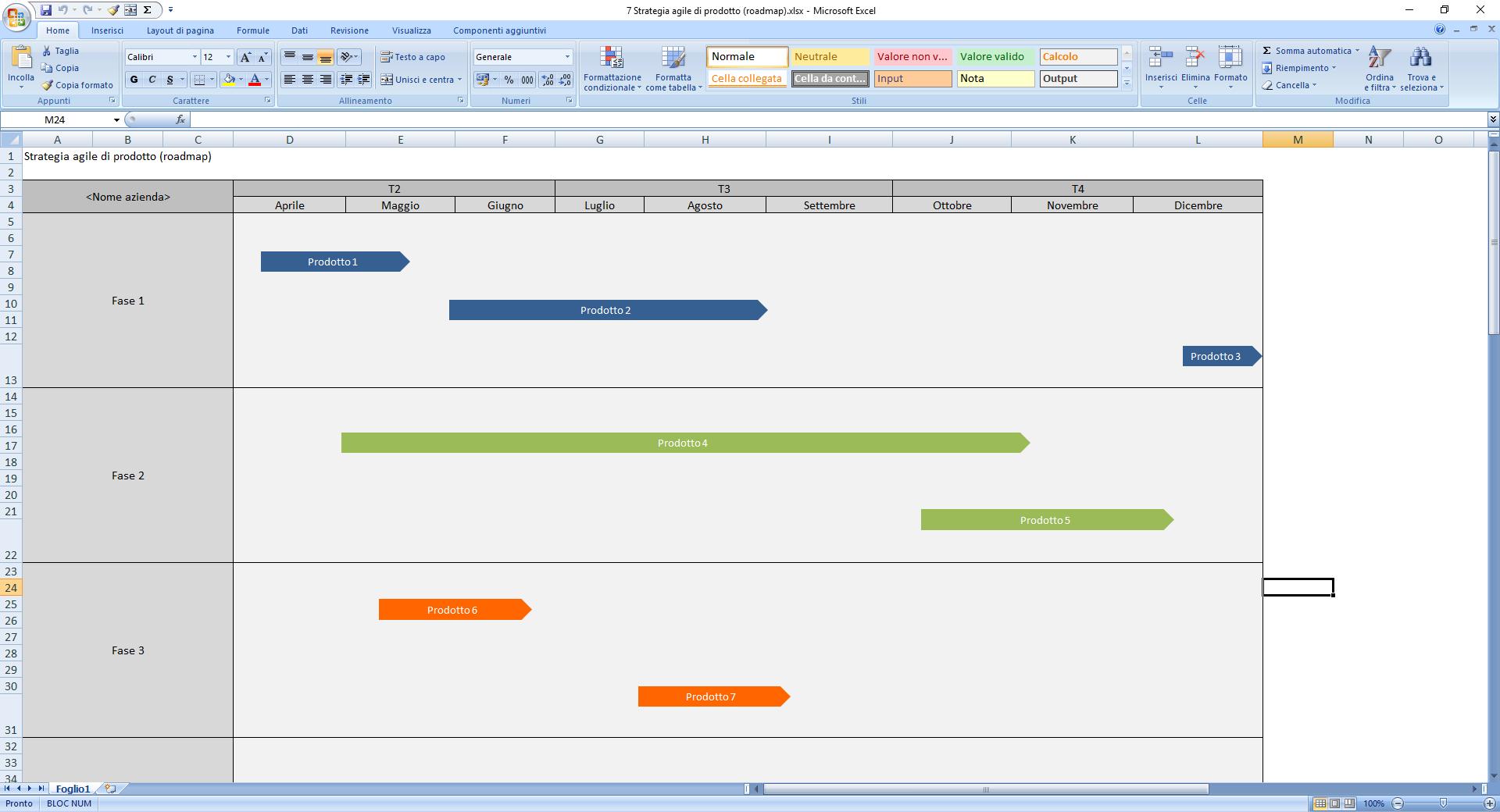 Strategia agile di prodotto (roadmap) - Agile Project Management Excel