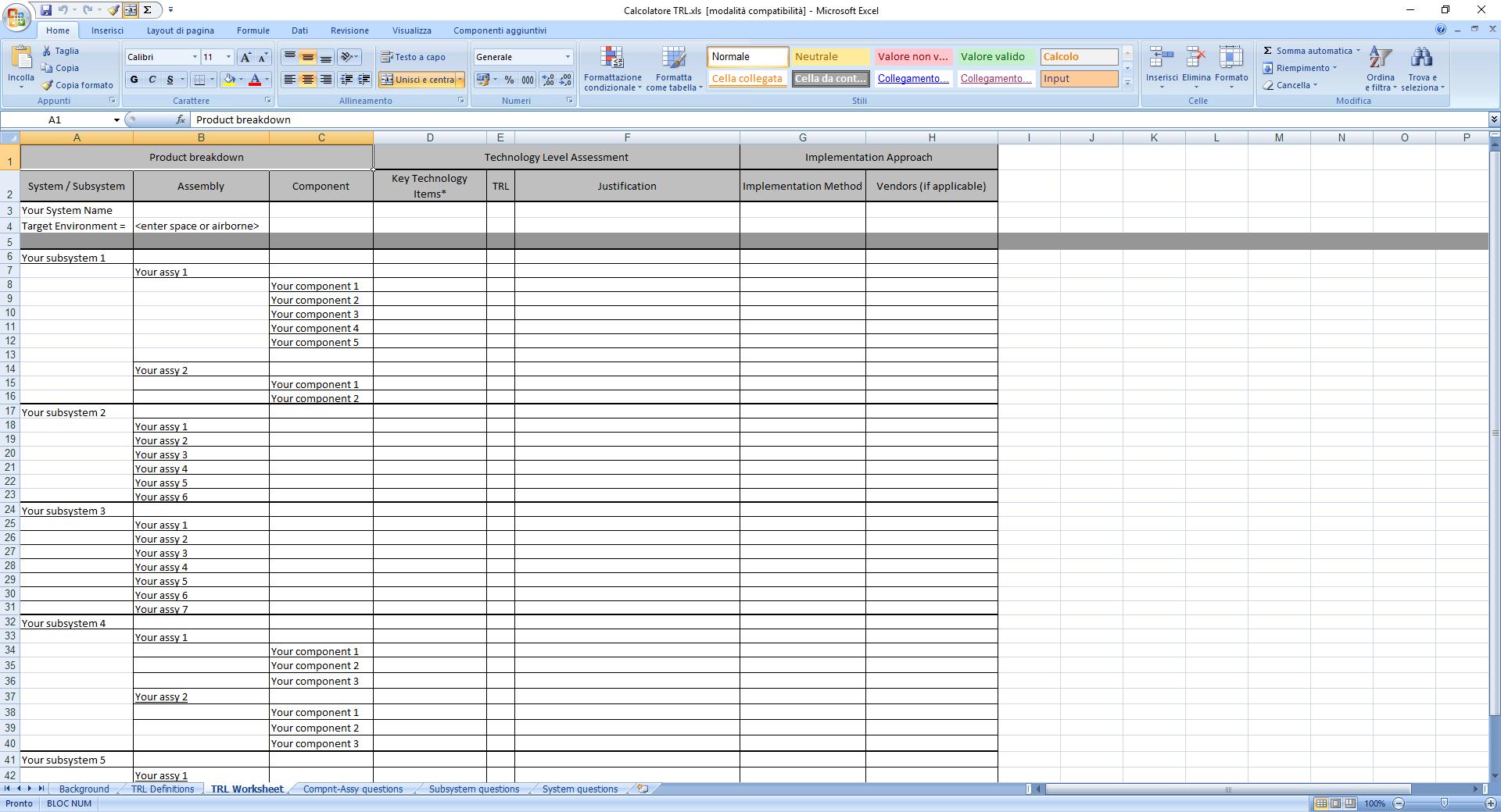Calcolatore TRL su Excel